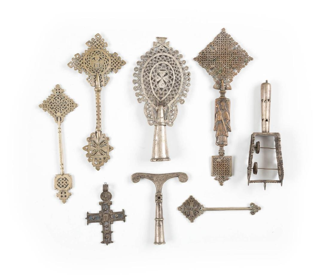 A COLLECTION OF EIGHT COPTIC BRASS CROSSES Ethiopian,