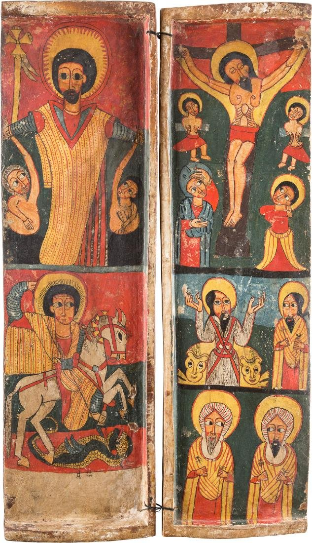 THE LEFT AND  THE RIGHT WING OF A COPTIC TRIPTYCH