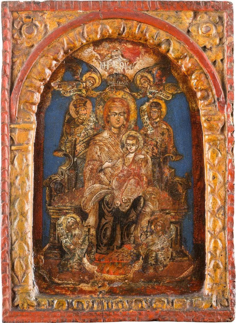 AN ICON OF THE ENTHRONED MOTHER OF GOD Greek, 18th
