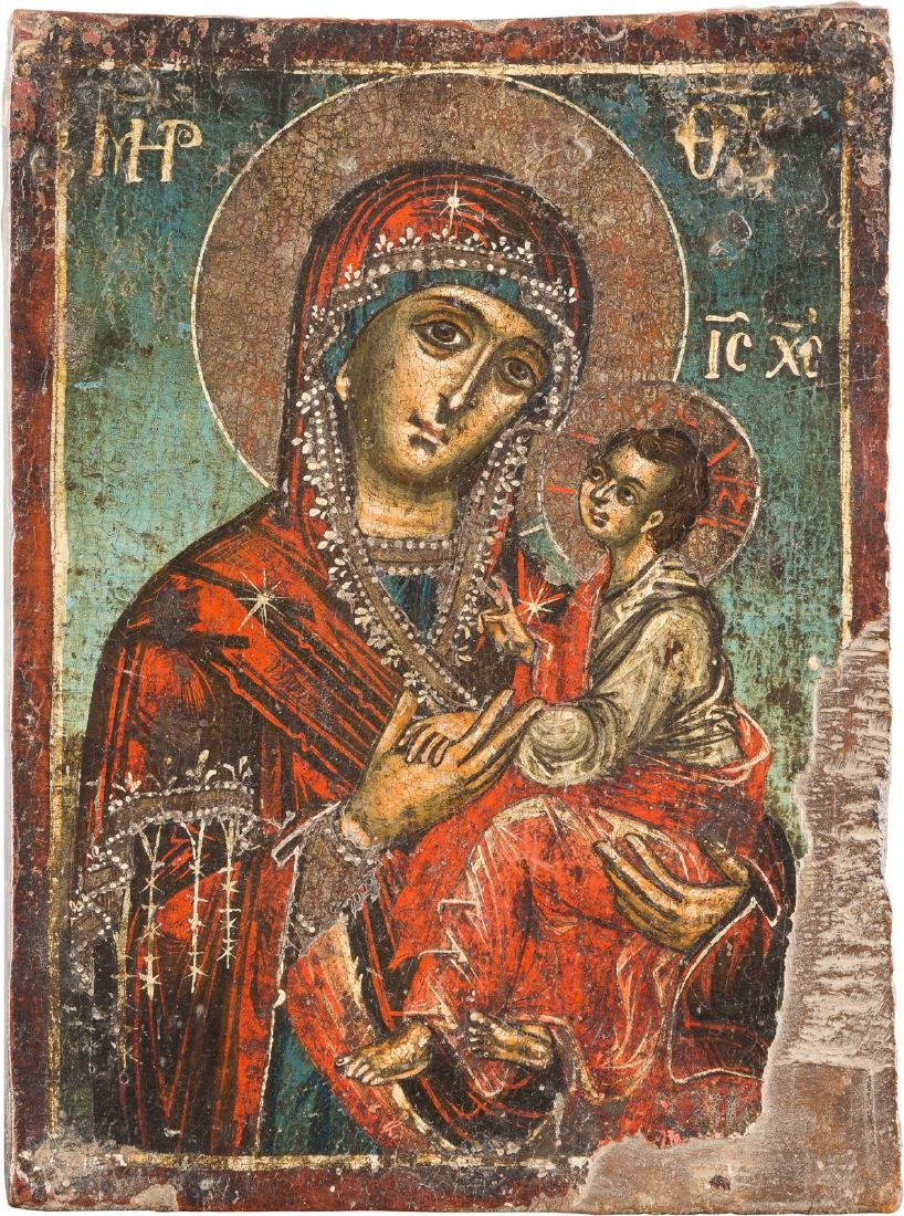 A SMALL ICON SHOWING THE MOTHER OF GOD Greek, 18th