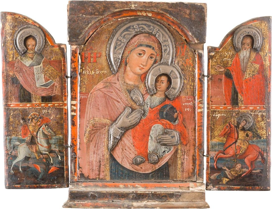 A TRIPTYCH SHOWING THE MOTHER OF GOD HODEGETRIA AND