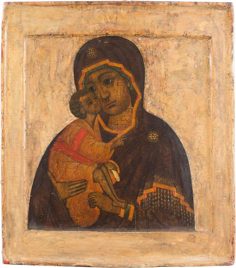 A RARE ICON SHOWING THE MOTHER OF GOD OF DON (DONSKAJA)