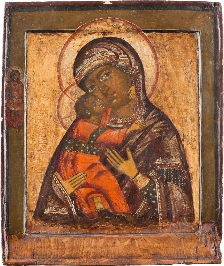 AN ICON SHOWING THE MOTHER OF GOD OF VLADIMIR