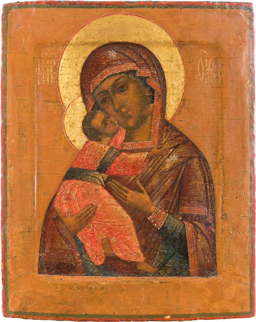 AN ICON SHOWING THE MOTHER OF GOD OF VLADIMIR Russian,