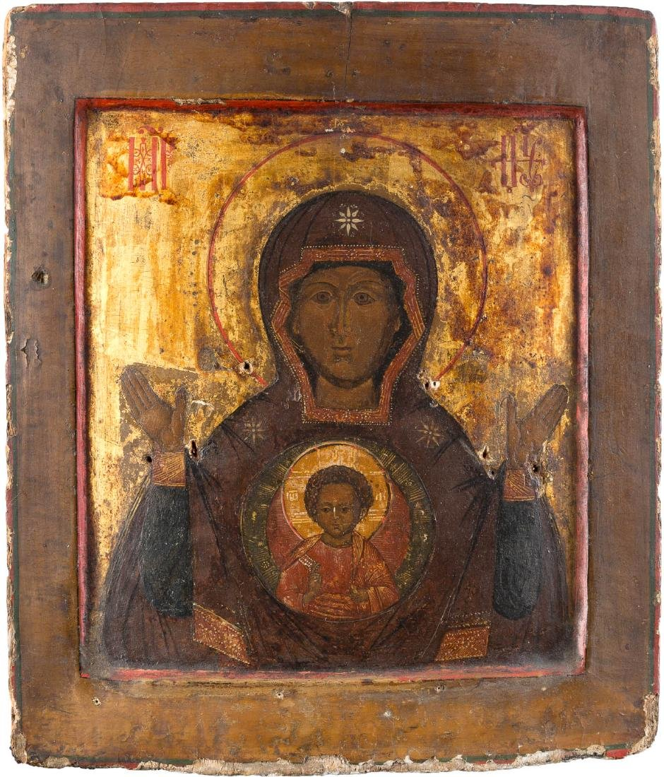 AN ICON SHOWING THE MOTHER OF GOD OF THE SIGN WITH RIZA