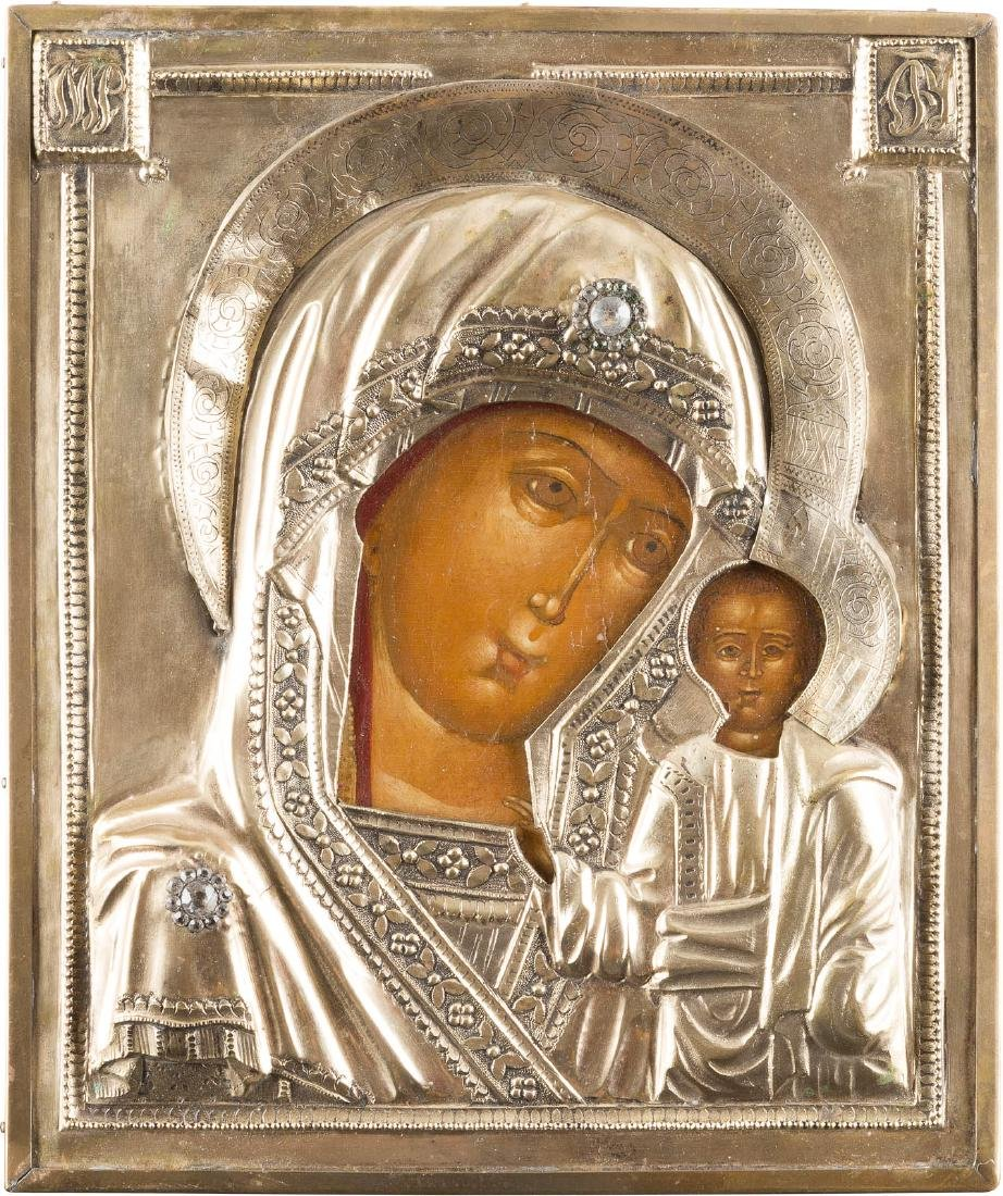 AN ICON SHOWING THE MOTHER OF GOD OF KAZAN IN