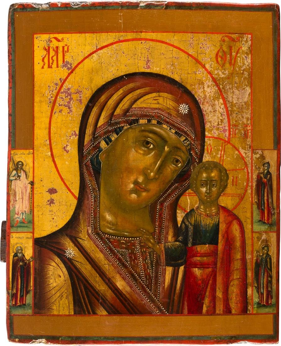 AN ICON SHOWING THE MOTHER OF GOD OF KAZAN WITH