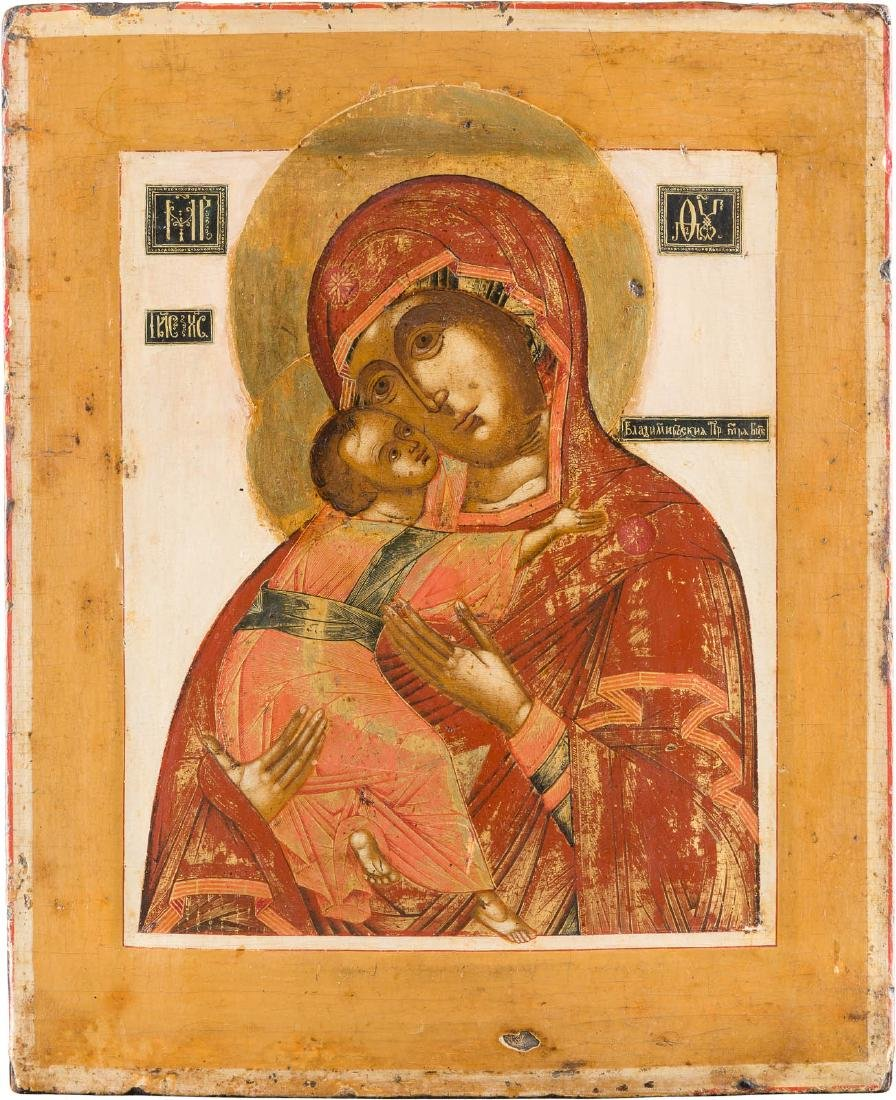 A FINELY PAINTED ICON SHOWING THE VLADIMIRSKAYA MOTHER