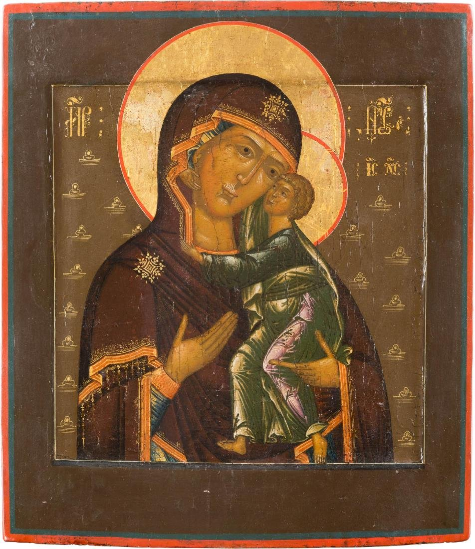A RARE ICON SHOWING THE MOTHER OF GOD OF TOLGA