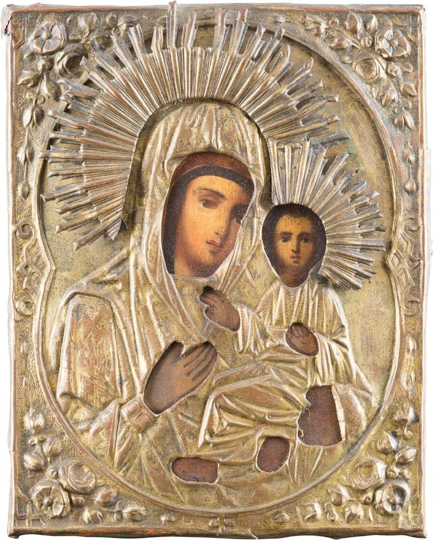 A SMALL ICON SHOWING THE MOTHER OF GOD OF SMOLENSK WITH