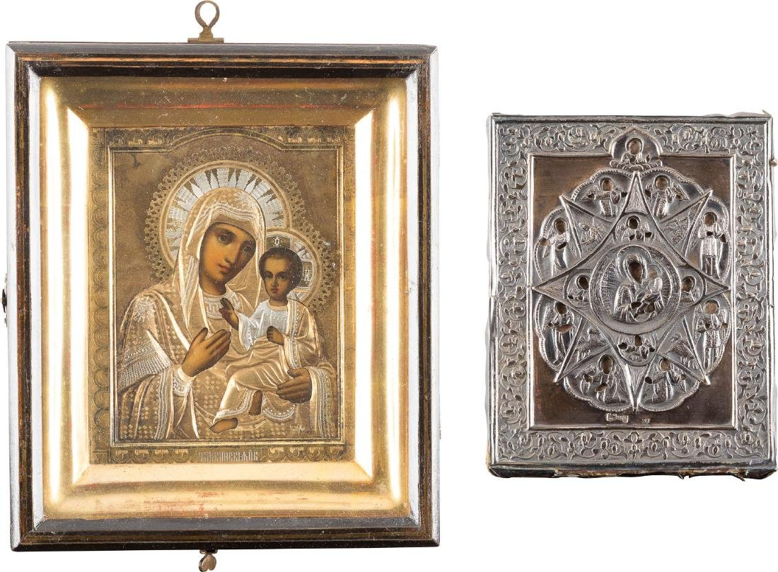 TWO ICONS WITH SILVER OKLAD SHOWING THE MOTHER OF GOD