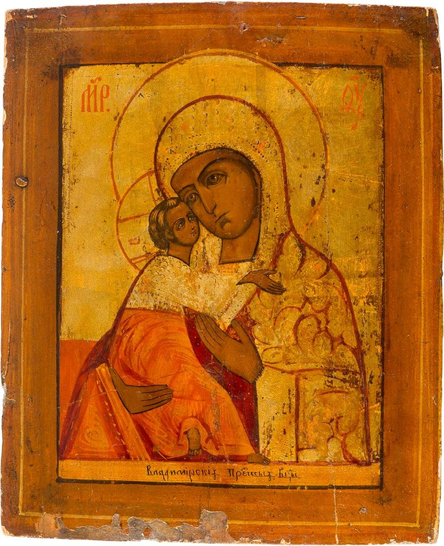A LARGE ICON OF THE MOTHER OF GOD OF VLADIMIR Russian,