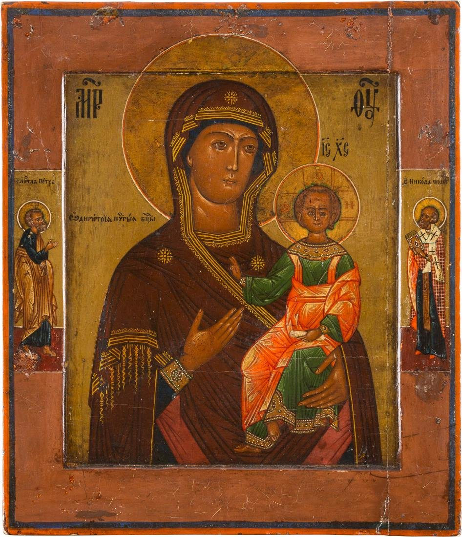 AN ICON SHOWING THE HODIGITRIA MOTHER OF GOD Russian,