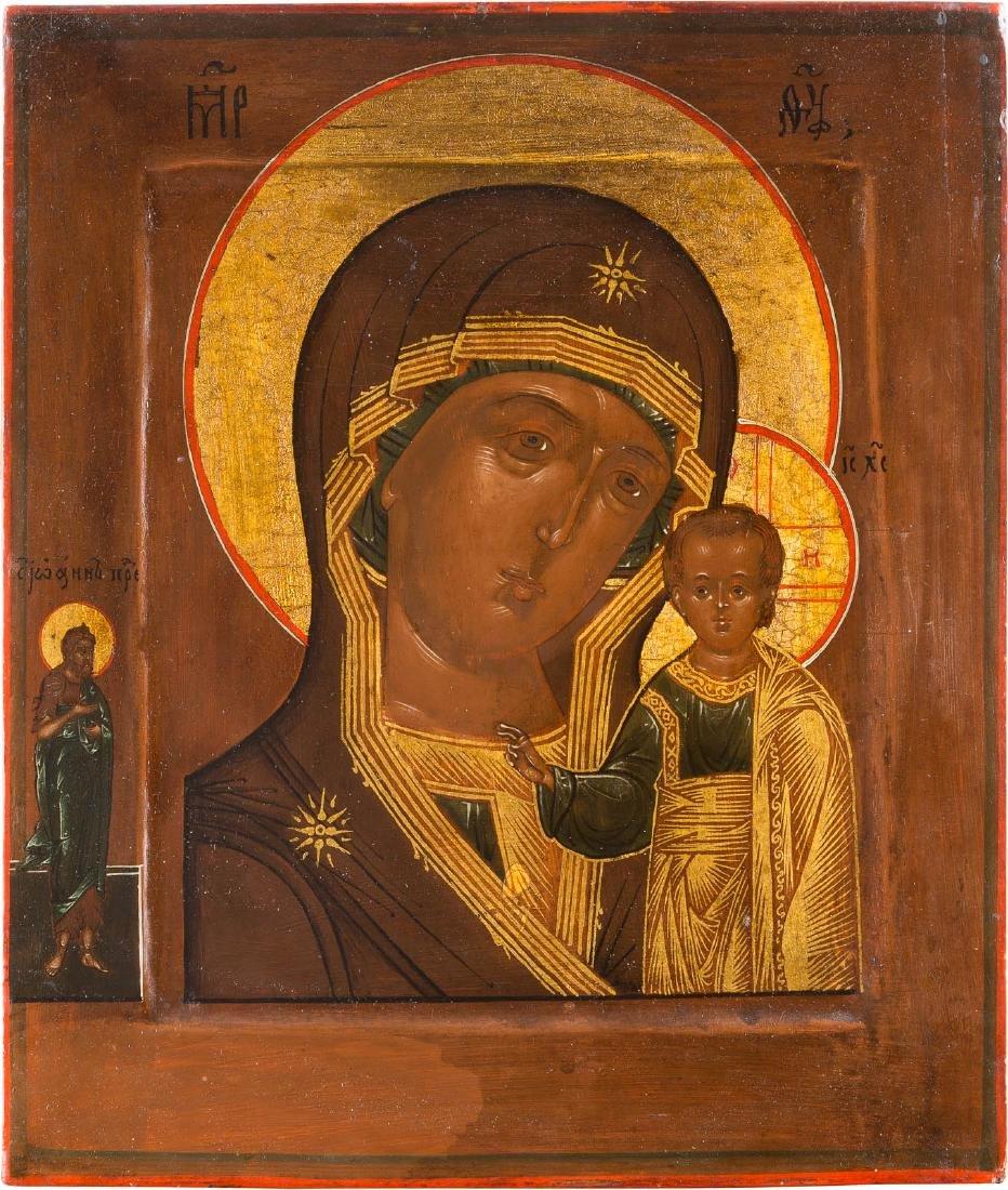 AN ICON SHOWING THE MOTHER OF GOD OF KAZAN (KAZANSKAJA)