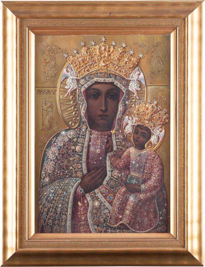 A MONUMENTAL ICON SHOWING THE BLACK MADONNA OF