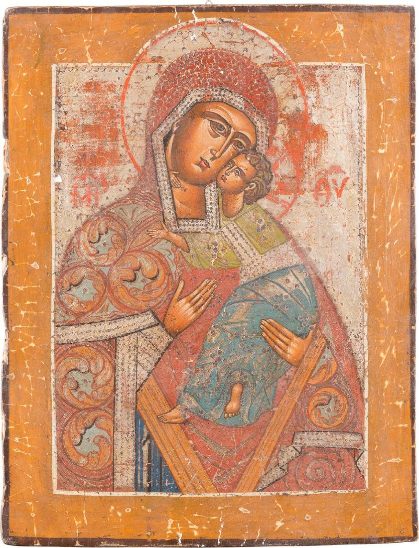 AN ICON SHOWING THE MOTHER OF GOD 'UMILENIE' Russian,