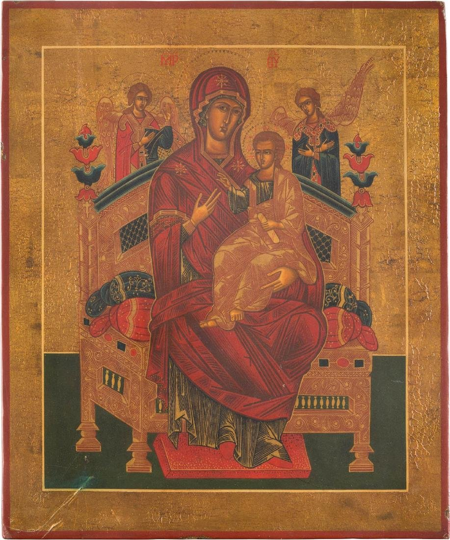 AN ICON SHOWING THE ENTHRONED MOTHER OF GOD Russian,