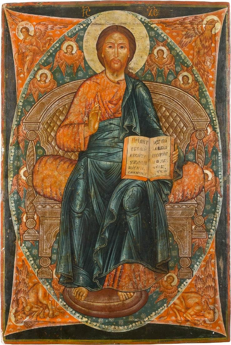 A MONUMENTAL ICON SHOWING THE ENTRHONED CHRIST 20th