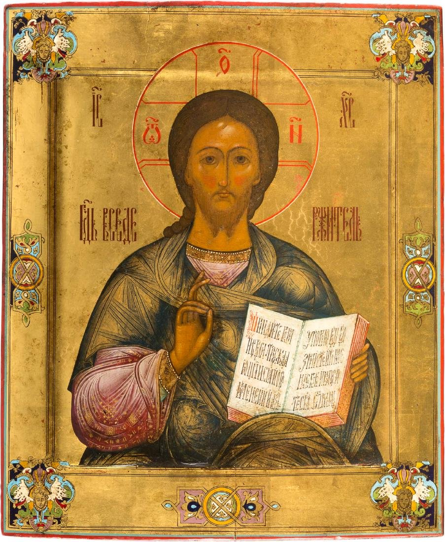 A RARE ICON SHOWING CHRIST PANTOKRATOR Central Russian,