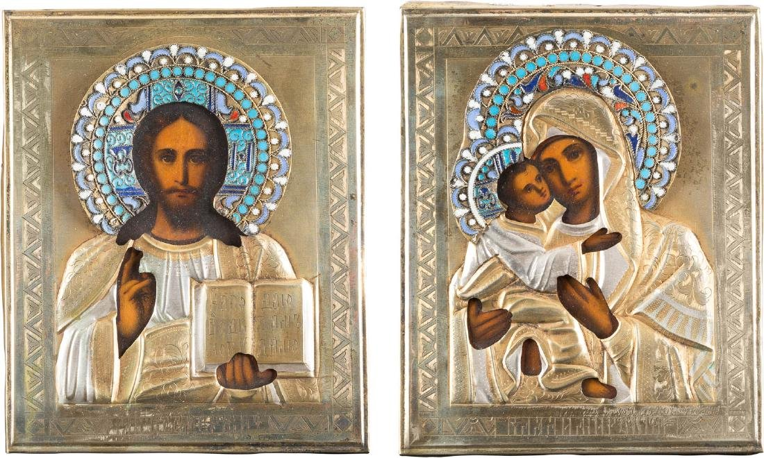 A PAIR OF SMALL WEDDING ICONS WITH OKLAD Russian, late