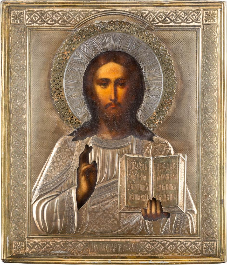 AN ICON SHOWING CHRIST PANTOKRATOR WITH SILVER-GILT