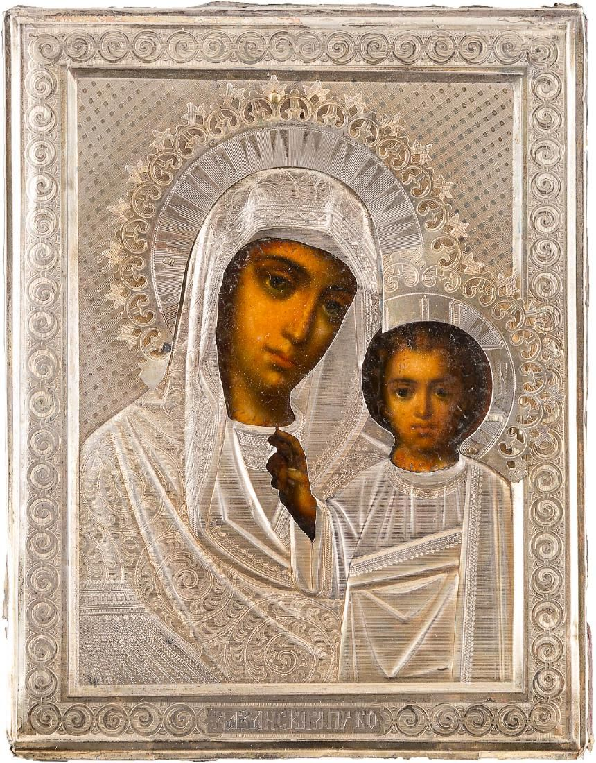 A PAIR OF WEDDING ICONS WITH SILVER OKLAD Russian,