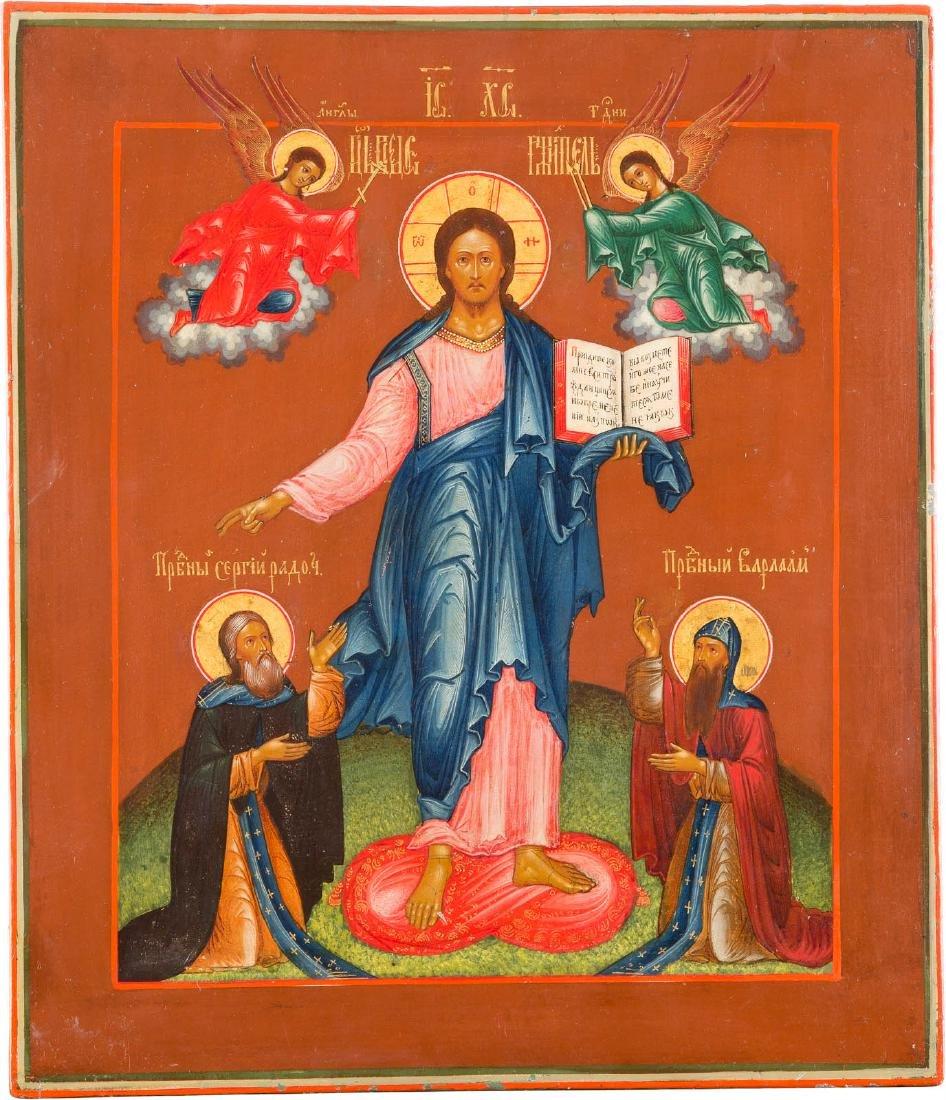 A FINE ICON OF CHRIST OF SMOLENSK THE SAVIOUR Central