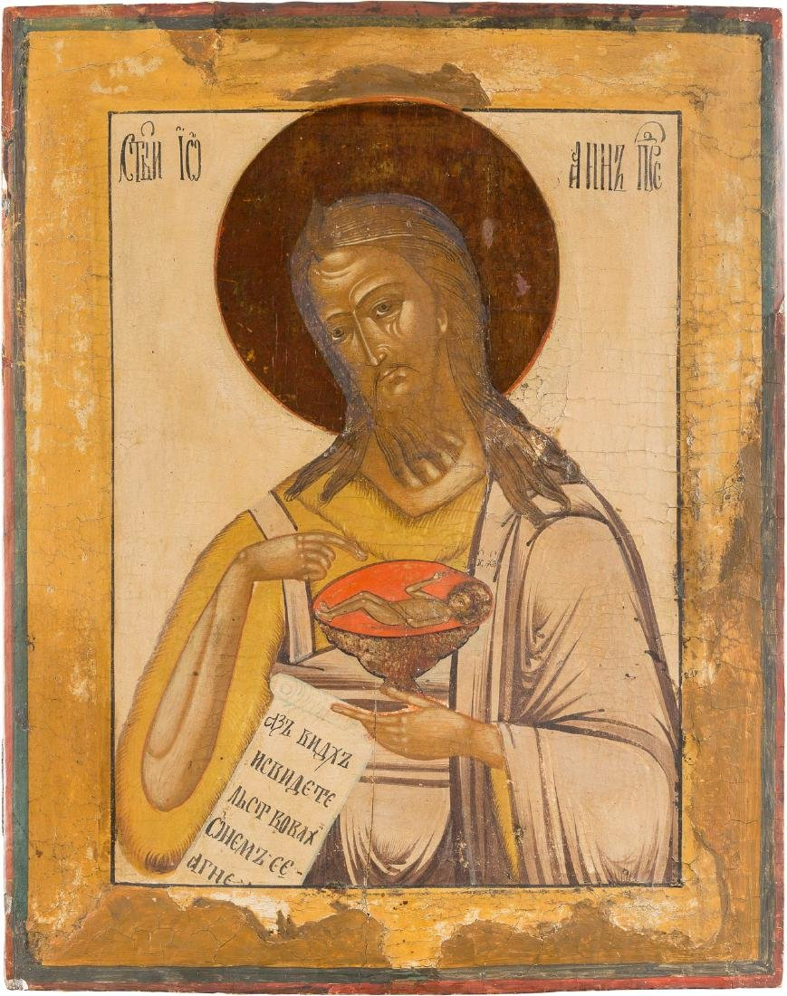 AN ICON SHOWING ST. JOHN FROM A DEISIS Russian, late