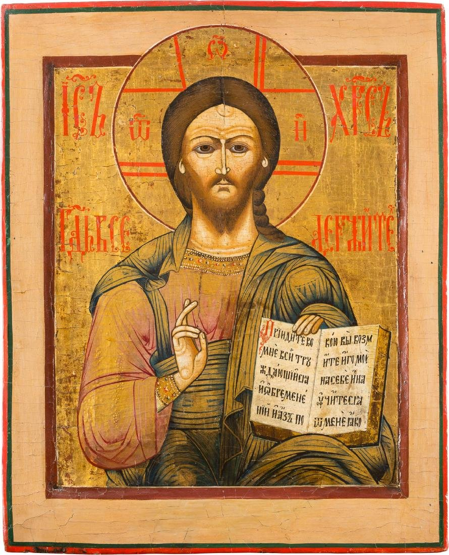 A LARGE ICON SHOWING CHRIST PANTOKRATOR Russian, 18th