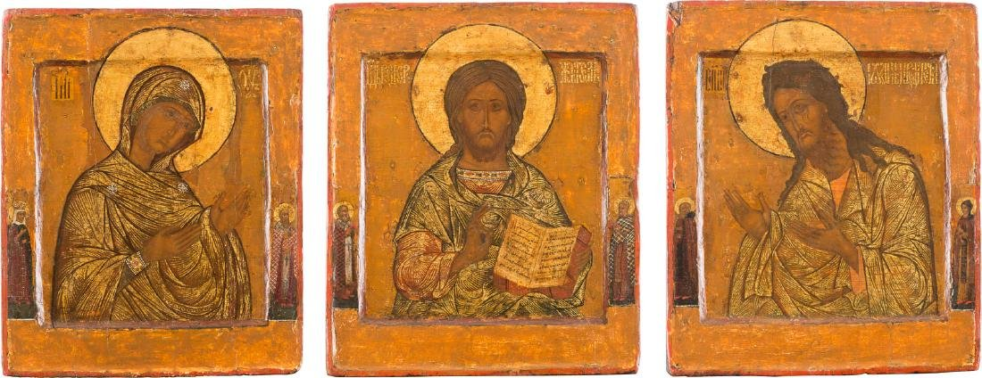 THREE ICONS FORMING A DEESIS Russian, 17th century.