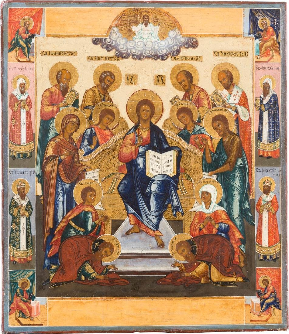 A FINE ICON SHOWING AN EXTENDED DEISIS Central Russian,
