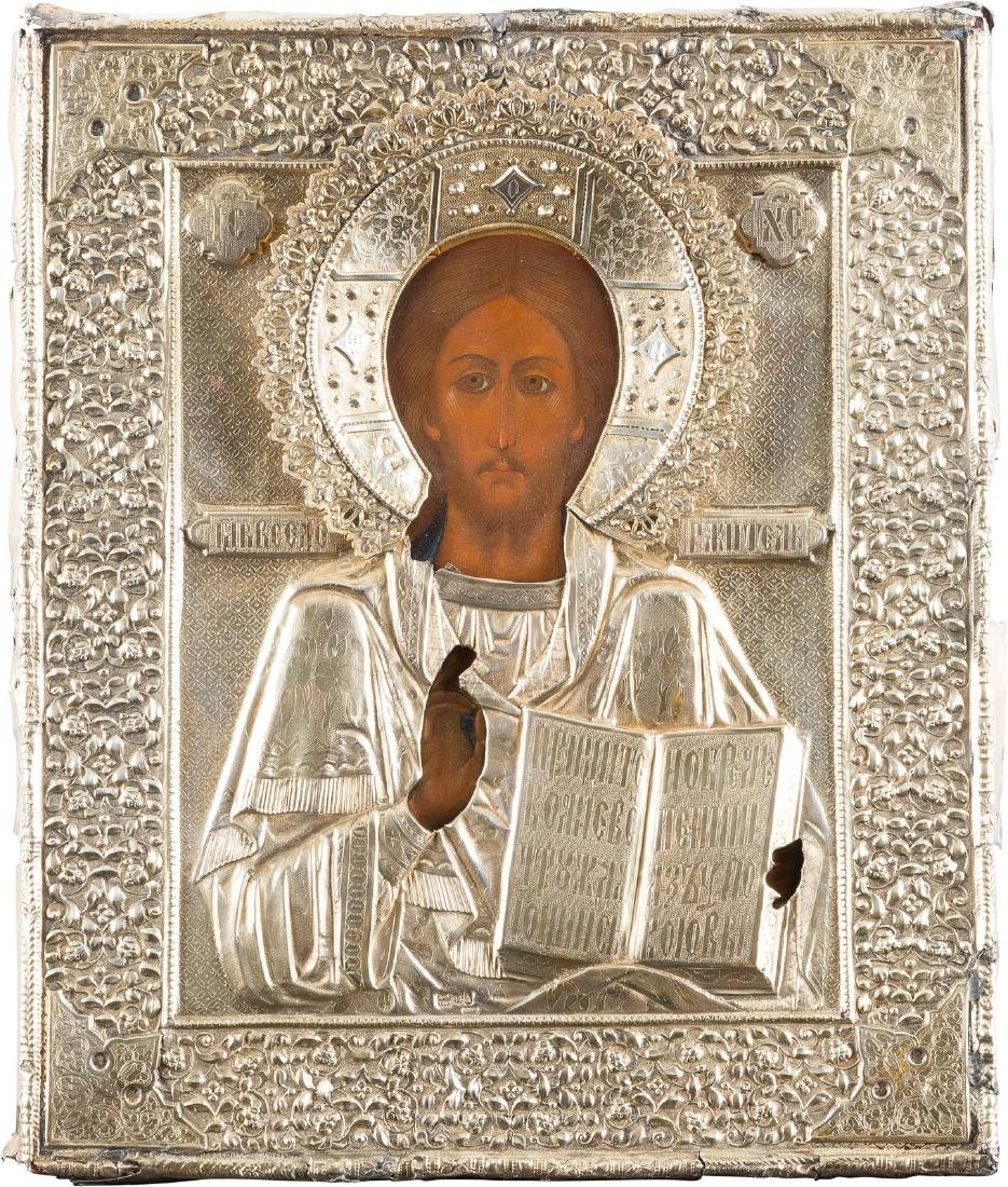AN ICON SHOWING CHRIST PANTOKRATOR WITH A SILVER-GILT