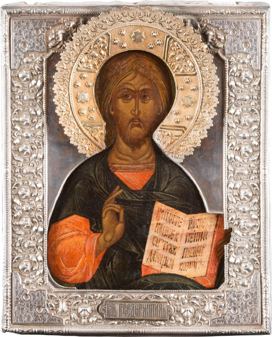 AN ICON SHOWING CHRIST PANTOKRATOR WITH A SILVER RIZA