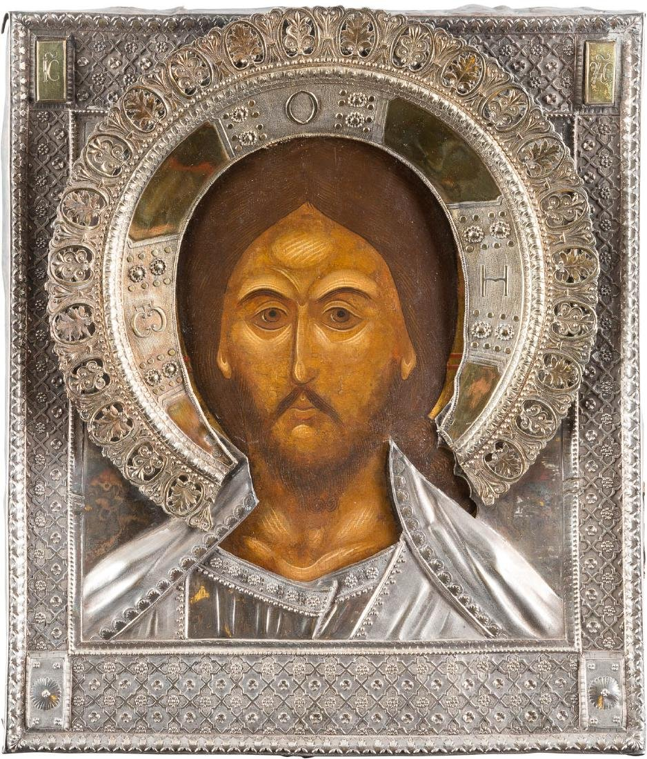 AN ICON SHOWING THE SAVIOUR WITH THE FEARSOME EYE WITH