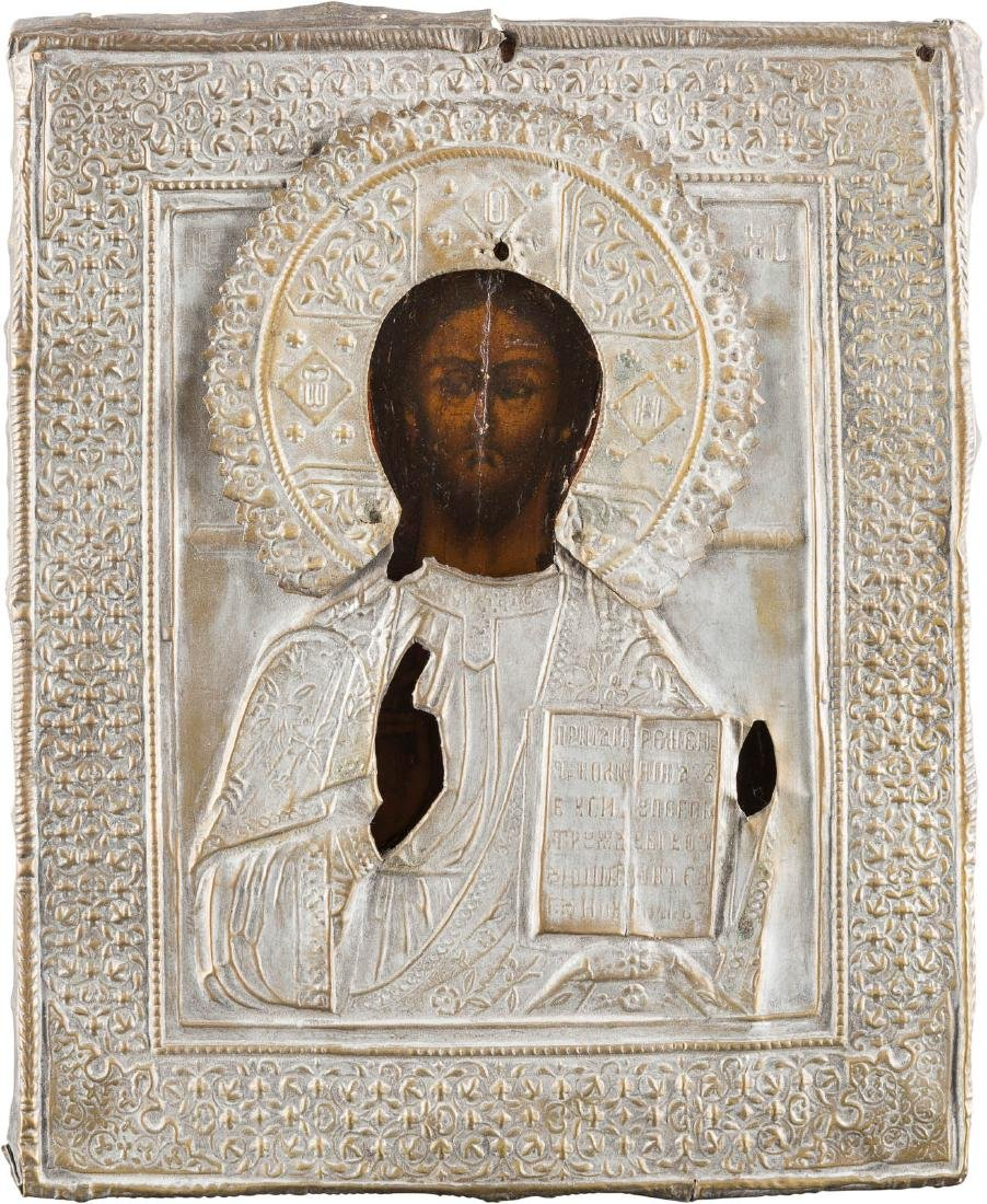 AN ICON SHOWING CHRIST PANTOKRATOR WITH OKLAD Russian,