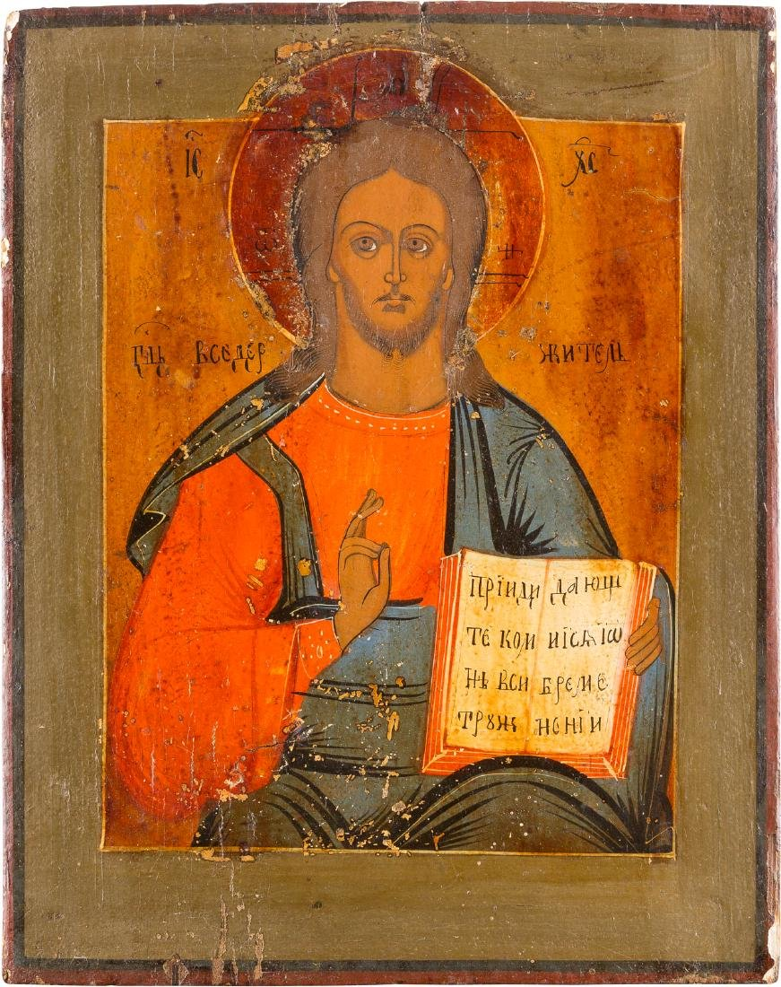 CHRIST PANTOCRATOR Russian, 19th century. Tempera on