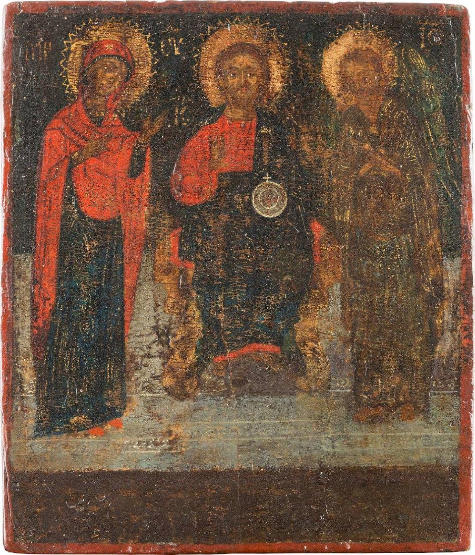 AN ICON SHOWING THE DEISIS Greek, 17th century Tempera