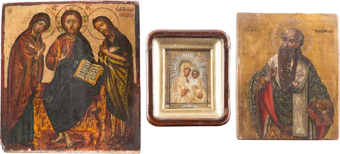 THREE ICONS: DEESIS, ST. BASILIOS AND MOTHER OF GOD OF