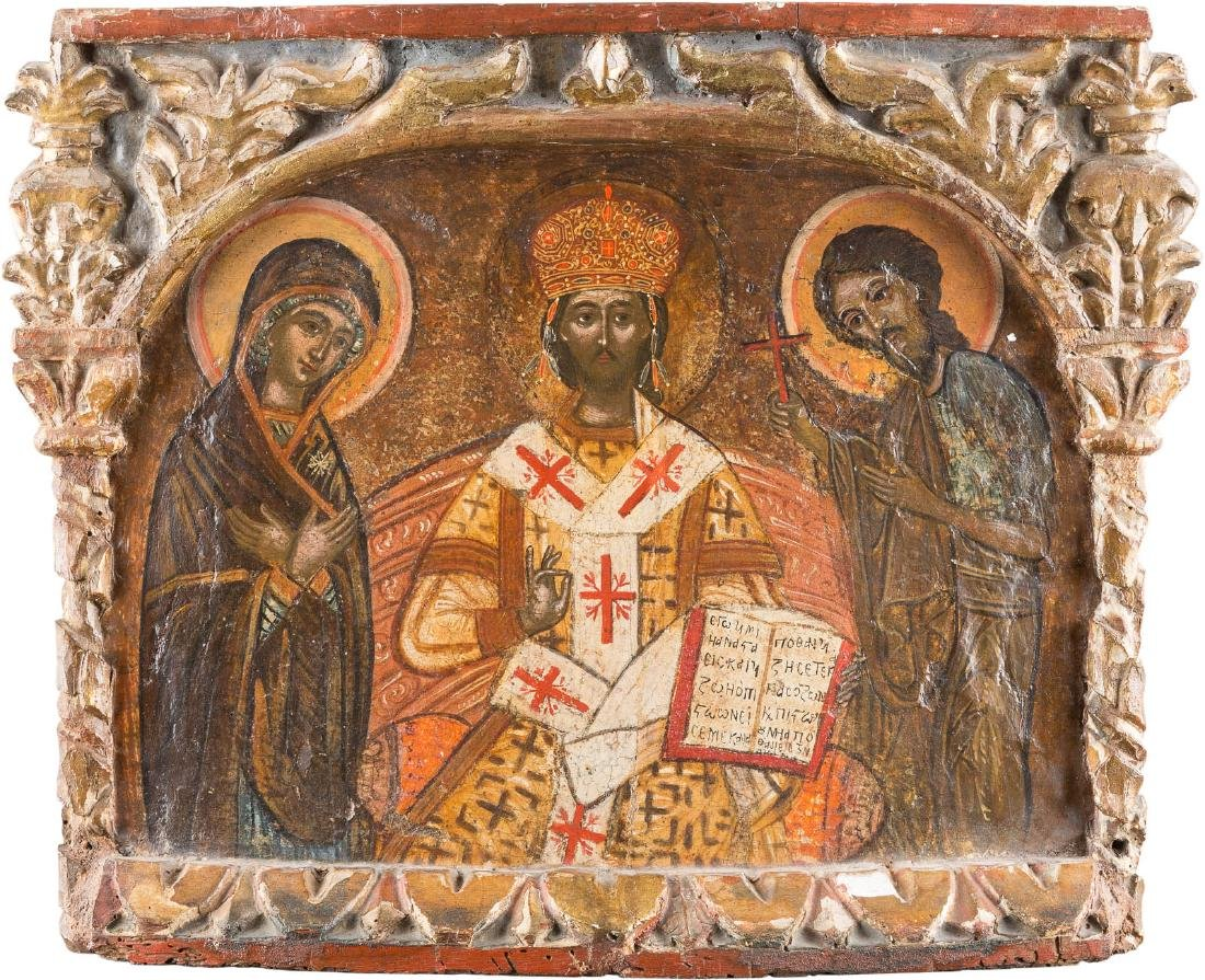AN ICON WITH A DEESIS Greek, 17th century. Tempera on