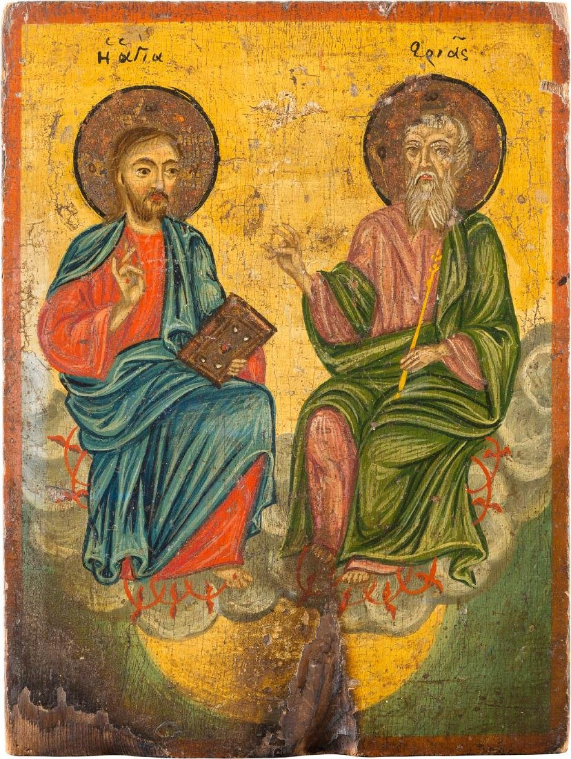 AN ICON SHOWING THE NEW TESTAMENT TRINITY Greek, 19th