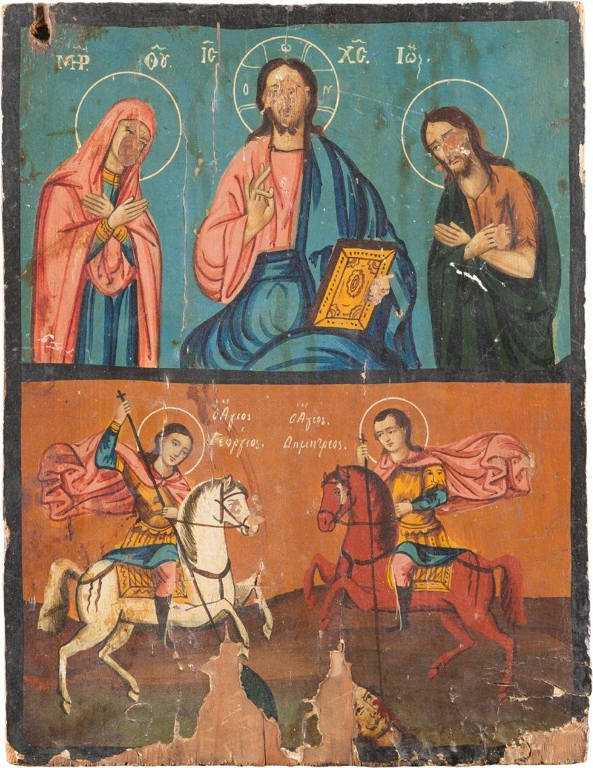 AN ICON SHOWING THE DEESIS AND SELECTED SAINTS Greek,