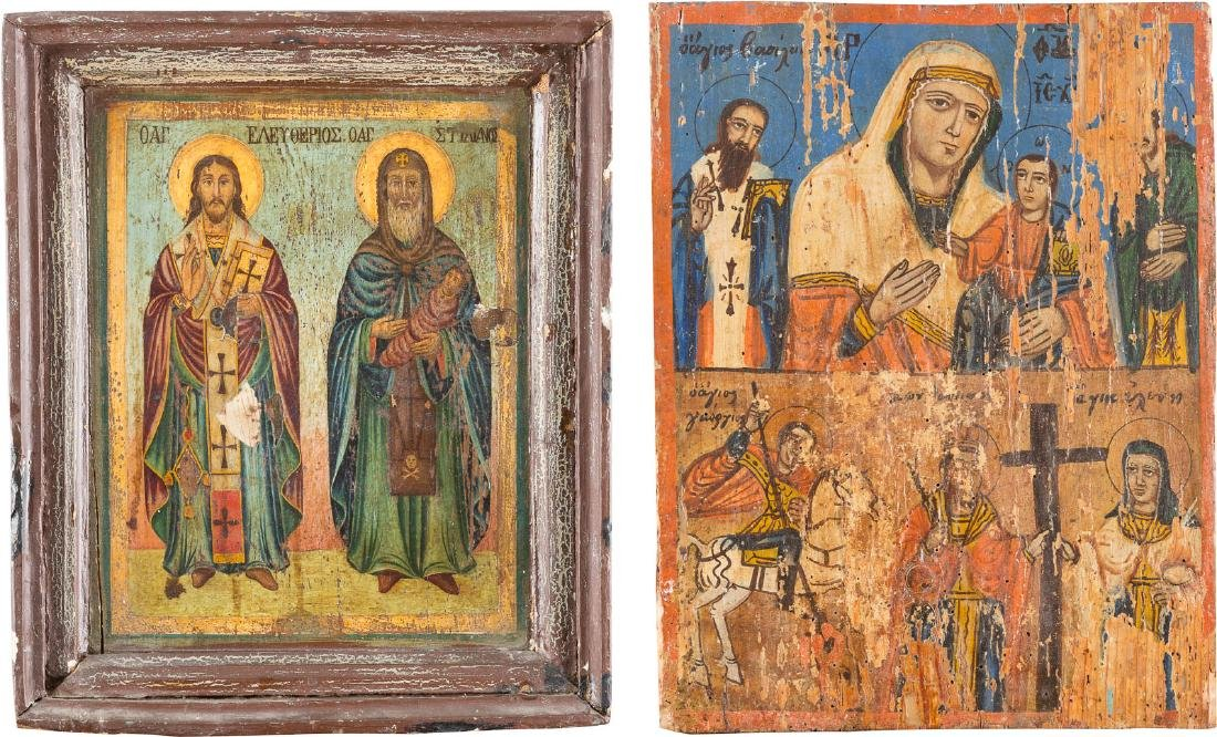 A TWO-PARTITE ICON AND AN ICON SHOWING ST. ELEUTHERIOS