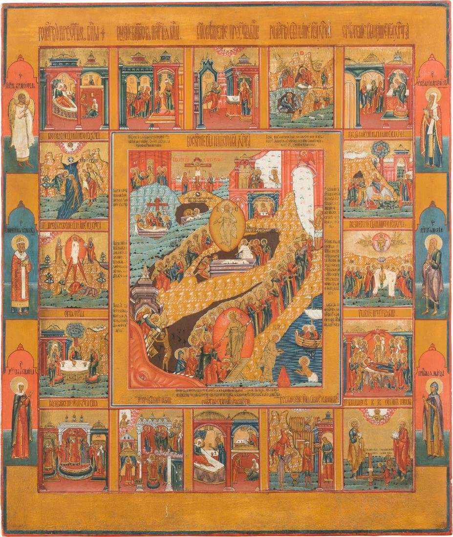 A MONUMENTAL AND FINE ICON SHOWING THE RESURRECTION AND