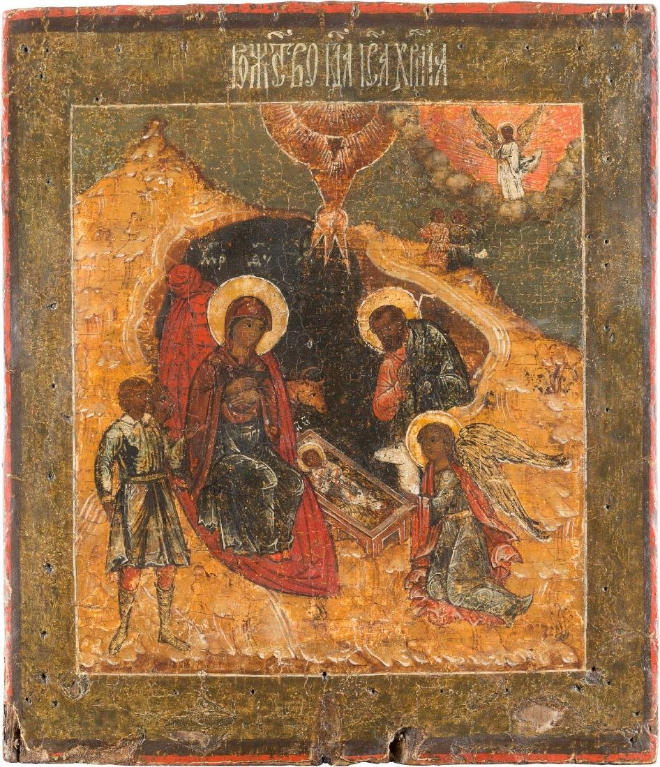 AN ICON SHOWING THE NATIVITY OF CHRIST Russian, 17th