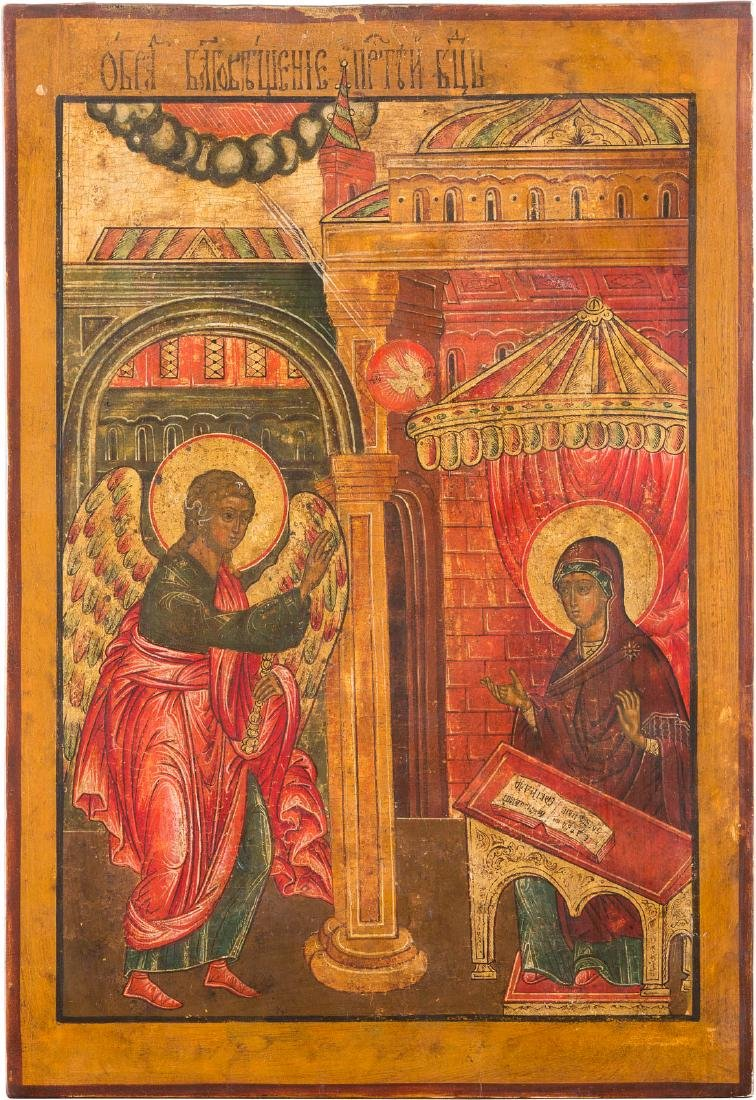 A LARGE ICON SHOWING THE ANNUNCIATION Russian, 19th