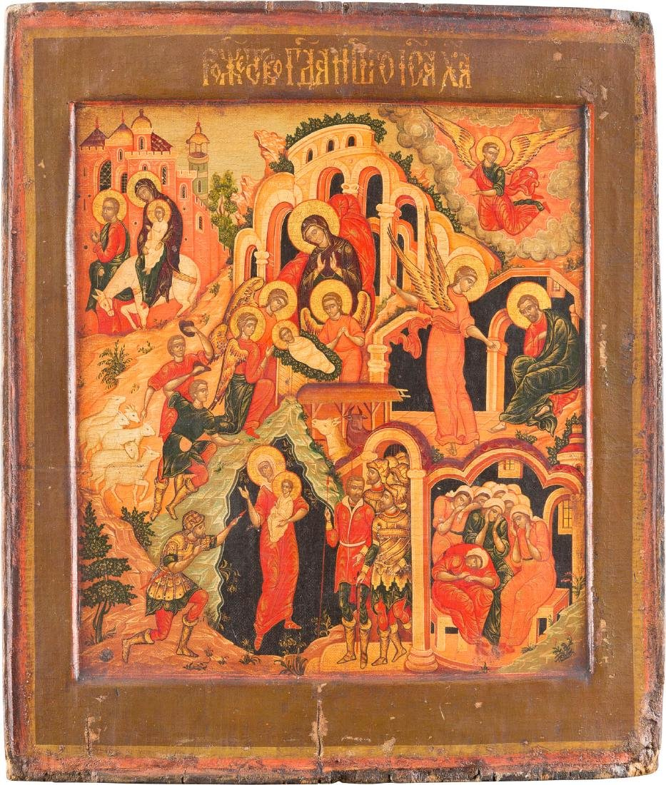 AN ICON OF THE NATIVITY OF CHRIST 20th century. Tempera