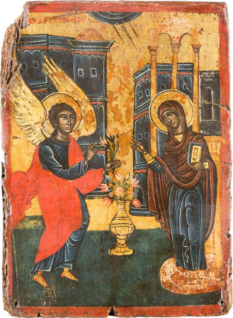 AN ICON SHOWING THE ANNUNCIATION Greek, 17th century