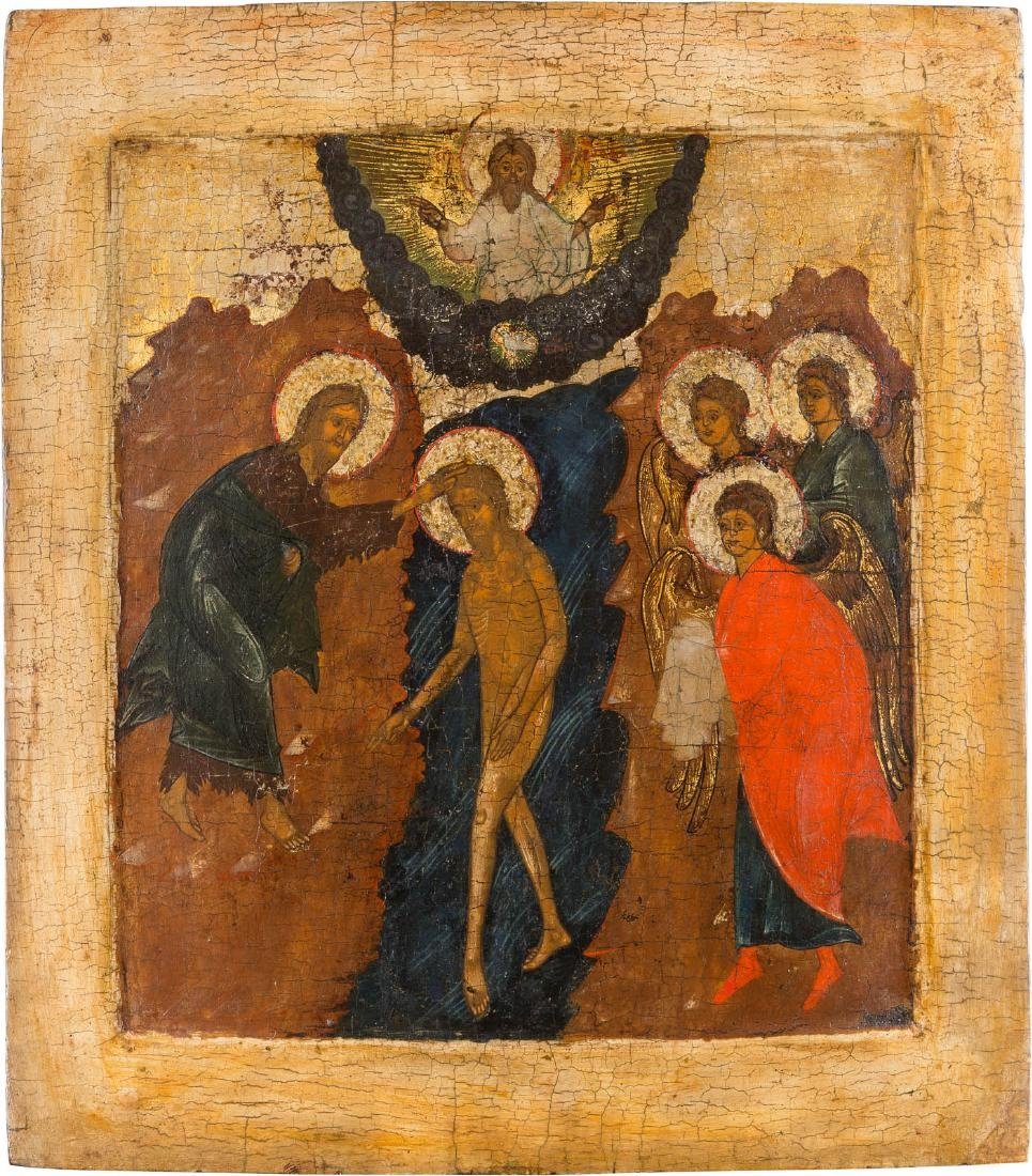 A LARGE ICON SHOWING THE BAPTISM OF CHRIST Russian,