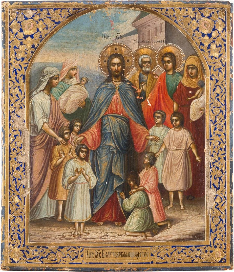 A RARE AND LARGE ICON: 'BLESSING OF THE CHILDREN BY