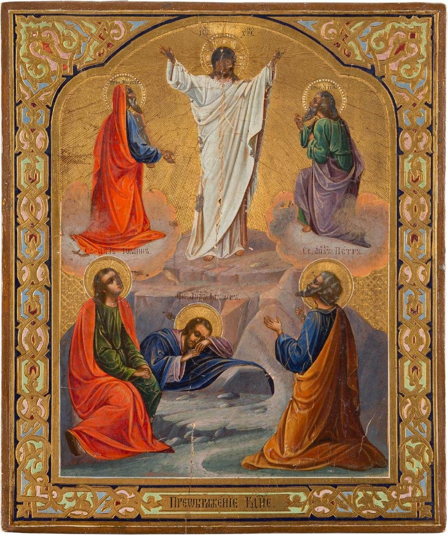 AN ICON SHOWING THE TRANSFIGURATION OF CHRIST Russian,